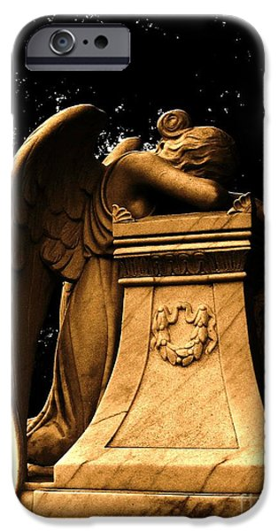 Old Sculptures iPhone Cases - Weeping Angel in Sepia iPhone Case by Nathan Little