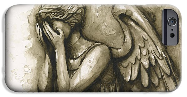 Dr Who iPhone Cases - Weeping Angel iPhone Case by Olga Shvartsur