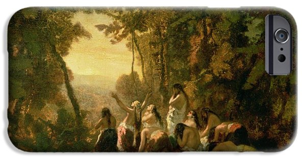 Tear Paintings iPhone Cases - Weeping of the Daughter of Jephthah iPhone Case by Narcisse Virgile Diaz de la Pena