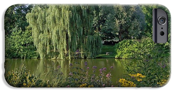 Cemetary iPhone Cases - Weeping Willow Landscape with Trees and Flowers iPhone Case by Mary Ann Weger