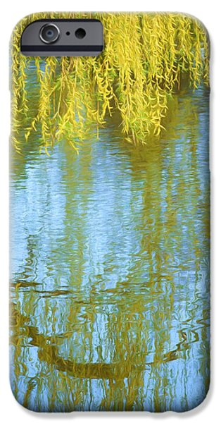 Willow Lake iPhone Cases - Weeping Willow - Reflections in Water iPhone Case by Nikolyn McDonald