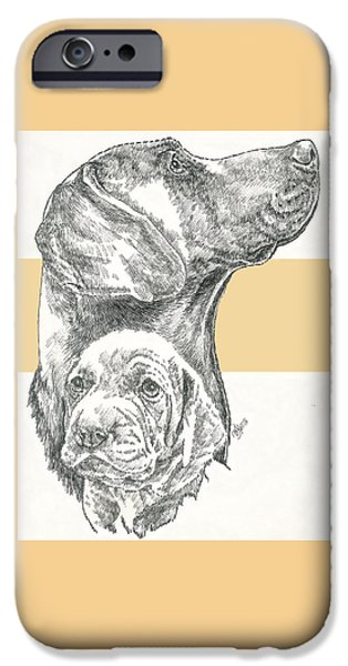 Dogs iPhone Cases - Weimaraner Father and Son iPhone Case by Barbara Keith