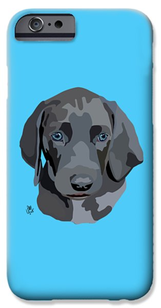 Puppies Digital iPhone Cases - Weimaraner iPhone Case by Ian Mutton