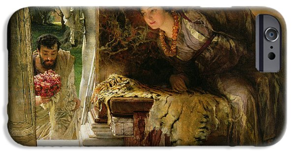 Relationship Paintings iPhone Cases - Welcome Footsteps iPhone Case by Sir Lawrence Alma-Tadema