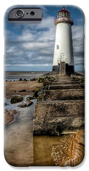 Navigation Digital iPhone Cases - Welsh Lighthouse  iPhone Case by Adrian Evans