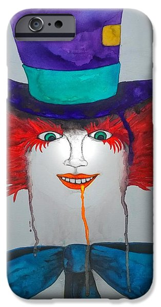 Mad Hatter Tapestries - Textiles iPhone Cases - Were all mad iPhone Case by Carmen Rumley