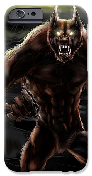 Concept Art iPhone Cases - Werewolf iPhone Case by Nat