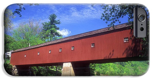 Covered Bridge iPhone Cases - West Cornwall Covered Bridge iPhone Case by John Burk