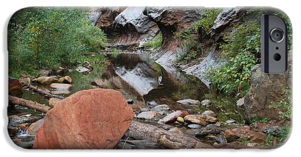 Oak Creek iPhone Cases - West Fork Trail River and Rock Horizontal iPhone Case by Heather Kirk