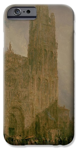 1796 iPhone Cases - West Front of Notre Dame iPhone Case by David Roberts