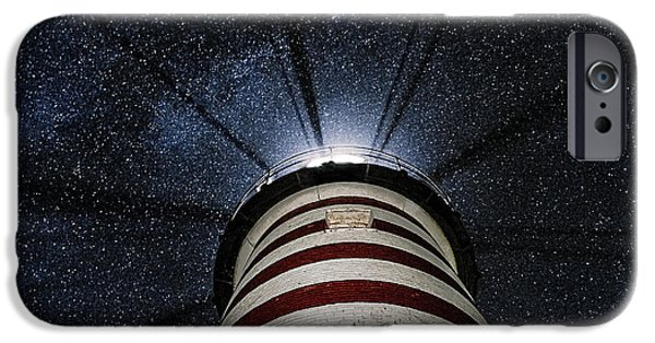West Quoddy Head Lighthouse iPhone Cases - West Quoddy Head Lighthouse Night Light iPhone Case by Marty Saccone