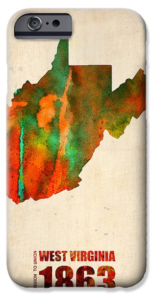 West iPhone Cases - West Virginia Watercolor Map iPhone Case by Naxart Studio