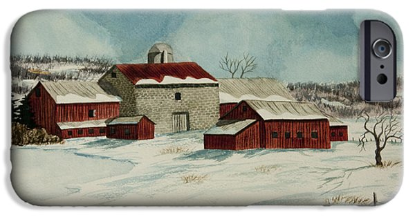 Winter Scene iPhone Cases - West Winfield Farm iPhone Case by Charlotte Blanchard