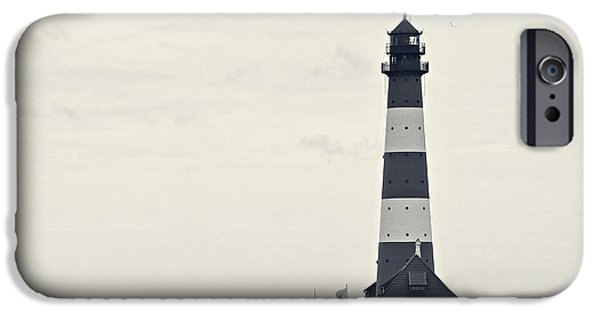 North Sea iPhone Cases - Westerhever Lighthouse II b / w iPhone Case by Angela Doelling AD DESIGN Photo and PhotoArt