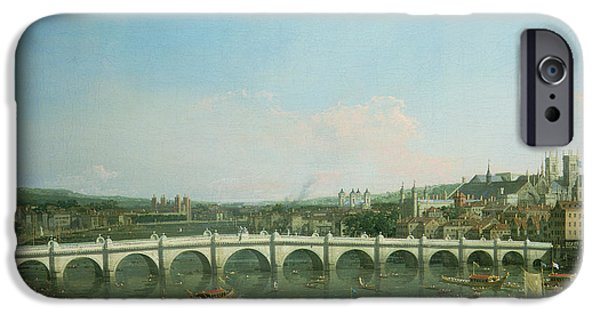The North iPhone Cases - Westminster Bridge from the North with Lambeth Palace in distance iPhone Case by Canaletto
