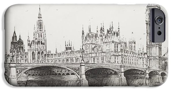 Architecture Drawings iPhone Cases - Westminster Bridge iPhone Case by Vincent Alexander Booth