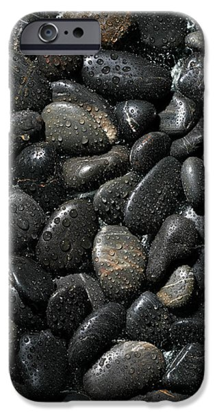 Isolated iPhone Cases - Wet River Rocks  iPhone Case by Michael Ledray