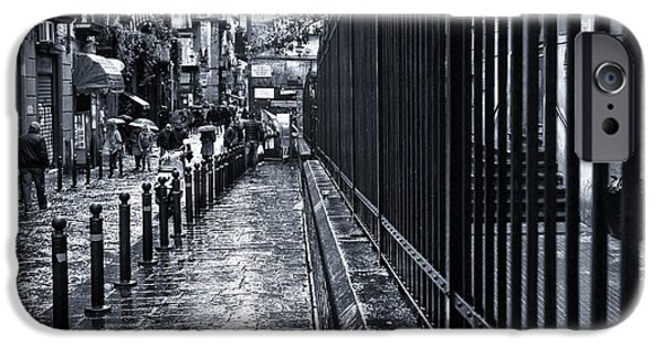 Rainy Day iPhone Cases - Wet Sidewalk in Naples iPhone Case by John Rizzuto