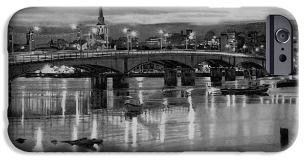 Night Lamp Drawings iPhone Cases - Wexford Bridge and harbour Ireland iPhone Case by Dave Irving