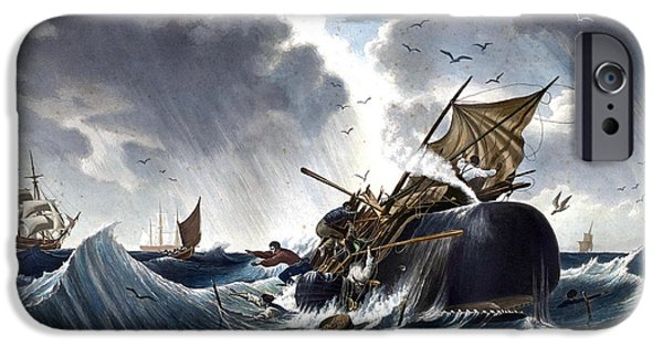 Storm Paintings iPhone Cases - Whale Destroying Whaling Ship iPhone Case by American School