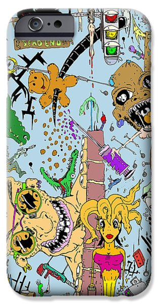 Photo Manipulation Drawings iPhone Cases - What a Mess Color iPhone Case by Jack Norton
