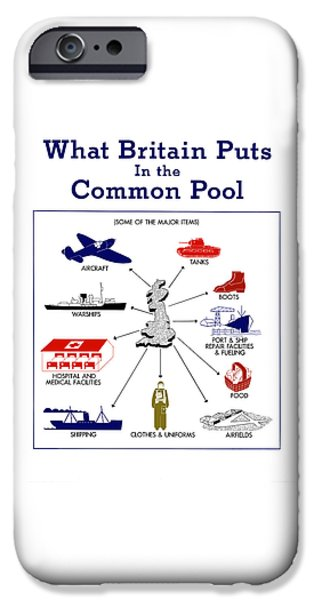 Historic England iPhone Cases - What Britain Puts In The Common Pool iPhone Case by War Is Hell Store