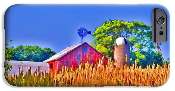 Gettysburg Digital iPhone Cases - Wheat Farm Near Gettysburg iPhone Case by Bill Cannon