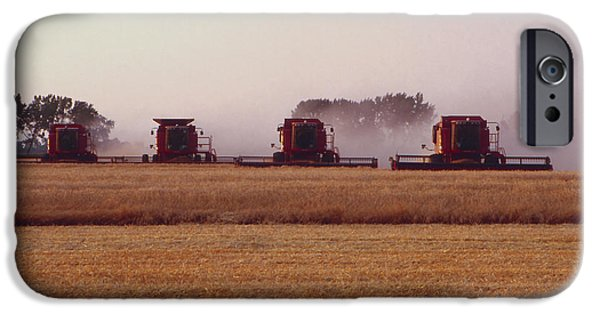 Agriculture iPhone Cases - Wheat Harvest in the Red River Valley iPhone Case by Lowell Anderson