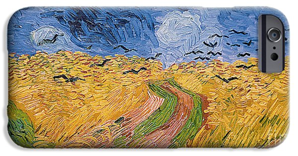 Bird iPhone Cases - Wheatfield with Crows iPhone Case by Vincent van Gogh