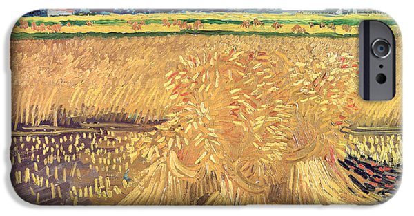 Field iPhone Cases - Wheatfield with Sheaves iPhone Case by Vincent van Gogh