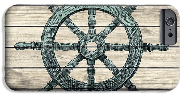 Recently Sold -  - Pirate Ships iPhone Cases - Wheel Of Pirate Ship Vintage Style Wooden Design iPhone Case by Jolanta Prunskaite