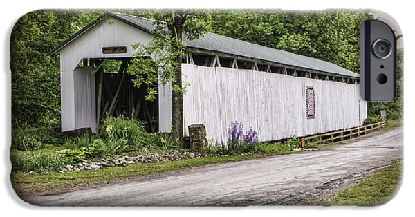Nineteenth iPhone Cases - Wheeling Covered Bridge iPhone Case by Phyllis Taylor