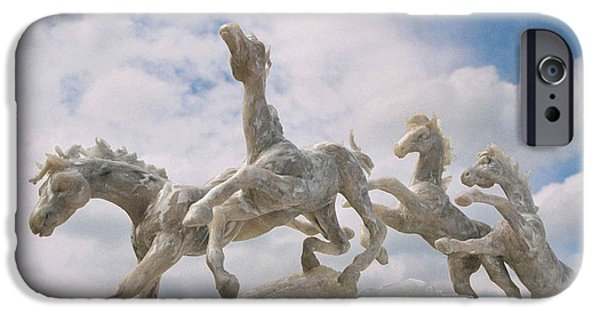 Animals Sculptures iPhone Cases - When I Look Up 2 iPhone Case by Caroline Czelatko