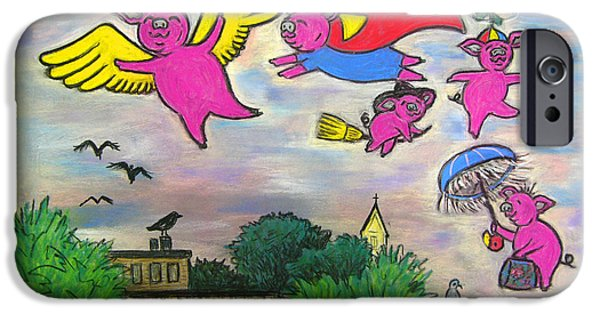 For Children Pastels iPhone Cases - When Pigs Fly iPhone Case by Deborah Willard