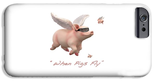 Shirt Digital iPhone Cases - When Pigs Fly iPhone Case by Mike McGlothlen