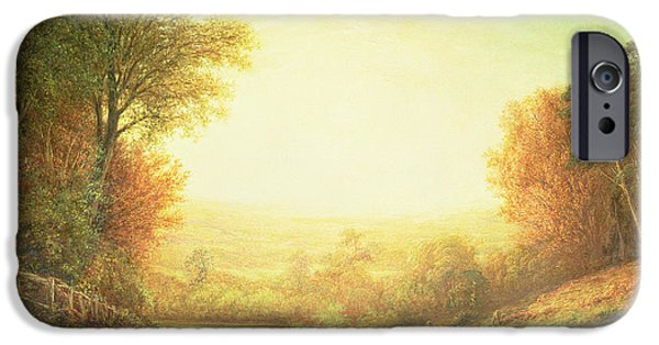 Fall Scenes iPhone Cases - When the Sun in Splendor Fades iPhone Case by John MacWhirter