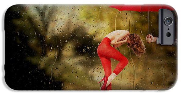 Rainy Day Mixed Media iPhone Cases - When You Need a Hand iPhone Case by Terry Fleckney