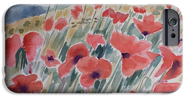 Iraq Paintings iPhone Cases - Where Poppies Grow iPhone Case by Barbara McMahon