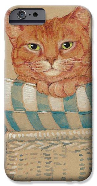Orange Tabby iPhone Cases - Wheres My Daiquiri? iPhone Case by Tracie Thompson