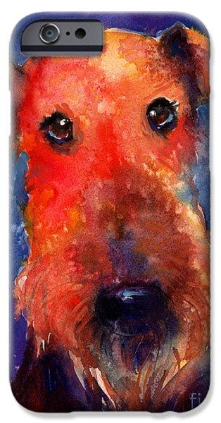 Dog Breed iPhone Cases - Whimsical Airedale Dog painting iPhone Case by Svetlana Novikova