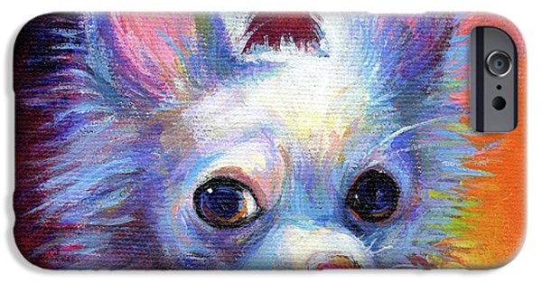 Cute Puppy iPhone Cases - Whimsical Chihuahua Dog painting iPhone Case by Svetlana Novikova