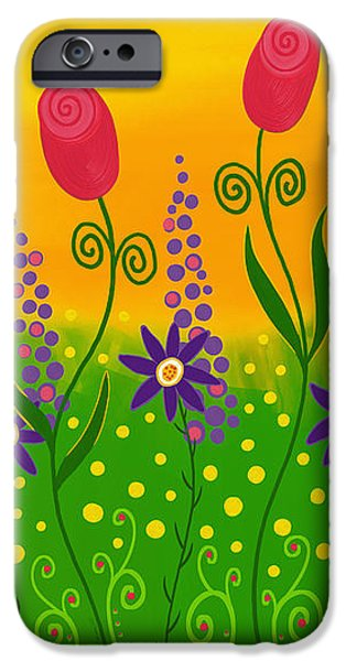 Floral Digital Art Digital Art iPhone Cases - Whimsical Flower Garden iPhone Case by Sharon Norman