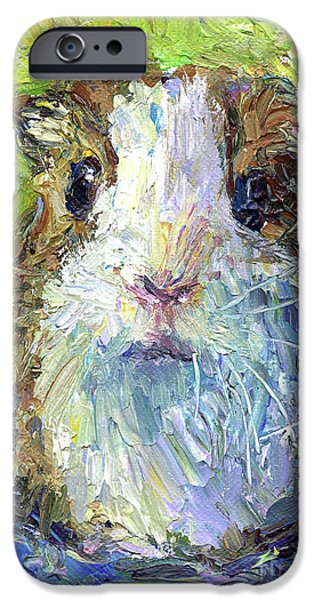 Animal Drawings iPhone Cases - Whimsical Guinea Pig painting print iPhone Case by Svetlana Novikova