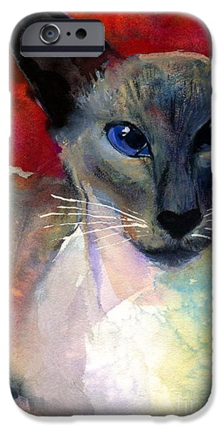 Cat Prints Drawings iPhone Cases - Whimsical Siamese Cat painting iPhone Case by Svetlana Novikova