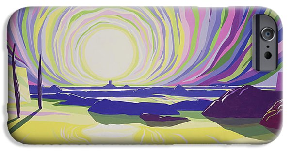 Sun Rays Paintings iPhone Cases - Whirling Sunrise - La Rocque iPhone Case by Derek Crow