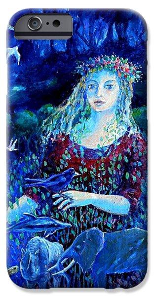 Crows iPhone Cases - Whispers from the Future  iPhone Case by Trudi Doyle