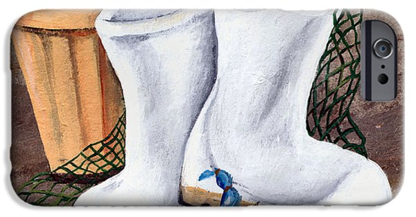 Recently Sold -  - Basket iPhone Cases - White Boots and Crabs iPhone Case by Elaine Hodges