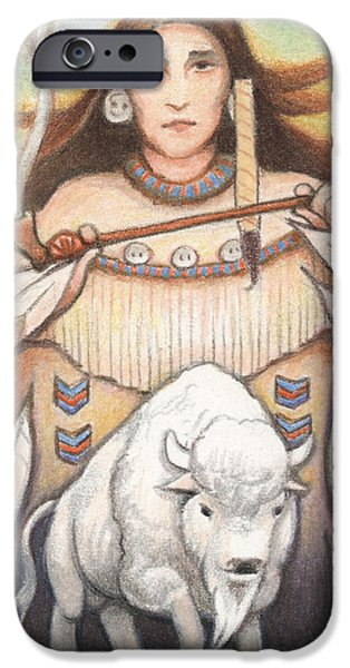Aceo iPhone Cases - White Buffalo Woman iPhone Case by Amy S Turner