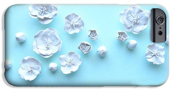 Object Ceramics iPhone Cases - White Cherry Blossom Wall Flower Set iPhone Case by Lenka Kasprisin