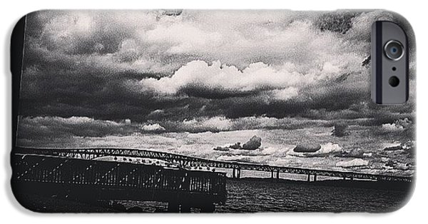 Hudson River iPhone Cases - White Clouds iPhone Case by Victory  Designs